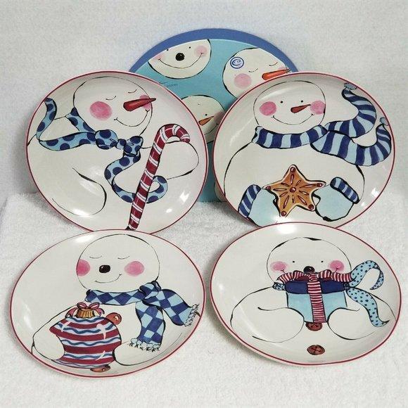 """Rosanna Other - Rosanna Christmas Plates Snowman 8"""" Set Of Four"""